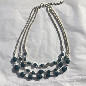Silver and dark teal stone necklace